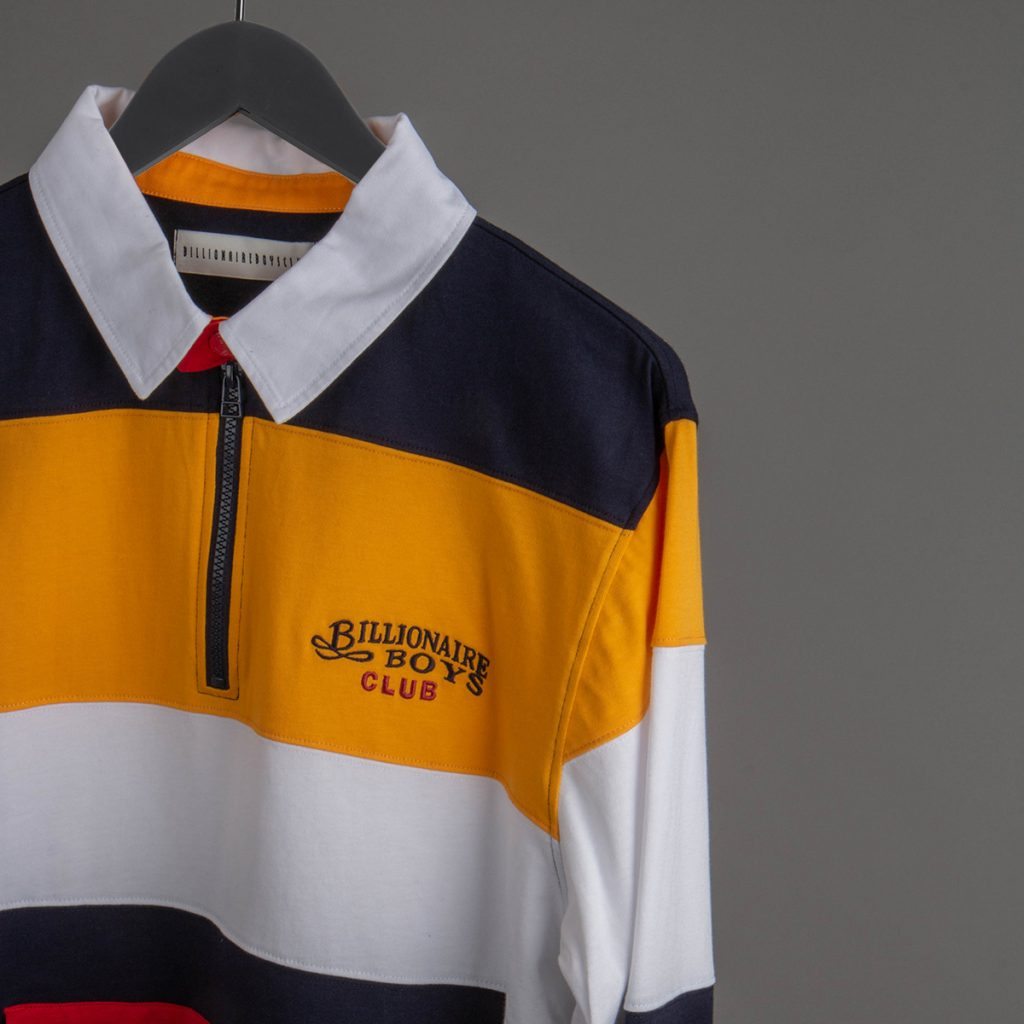 Billionaire Boys Club Rugy Polo Shirt in yellow, red and blue
